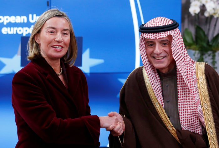 European Union foreign policy chief Federica Mogherini welcomes Saudi Arabia's Foreign Minister Adel al-Jubeir ahead of a meeting in Brussels in February 2018.