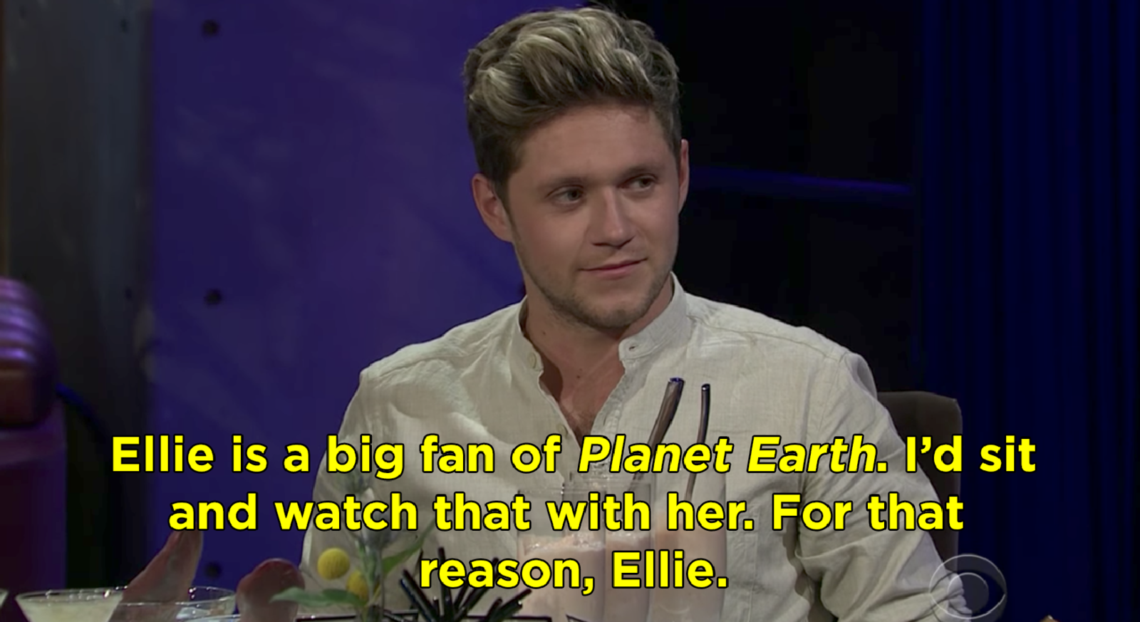 "Niall Horan saying he'd spend a night watching ""Planet Earth"" with his ex Ellie Goulding"
