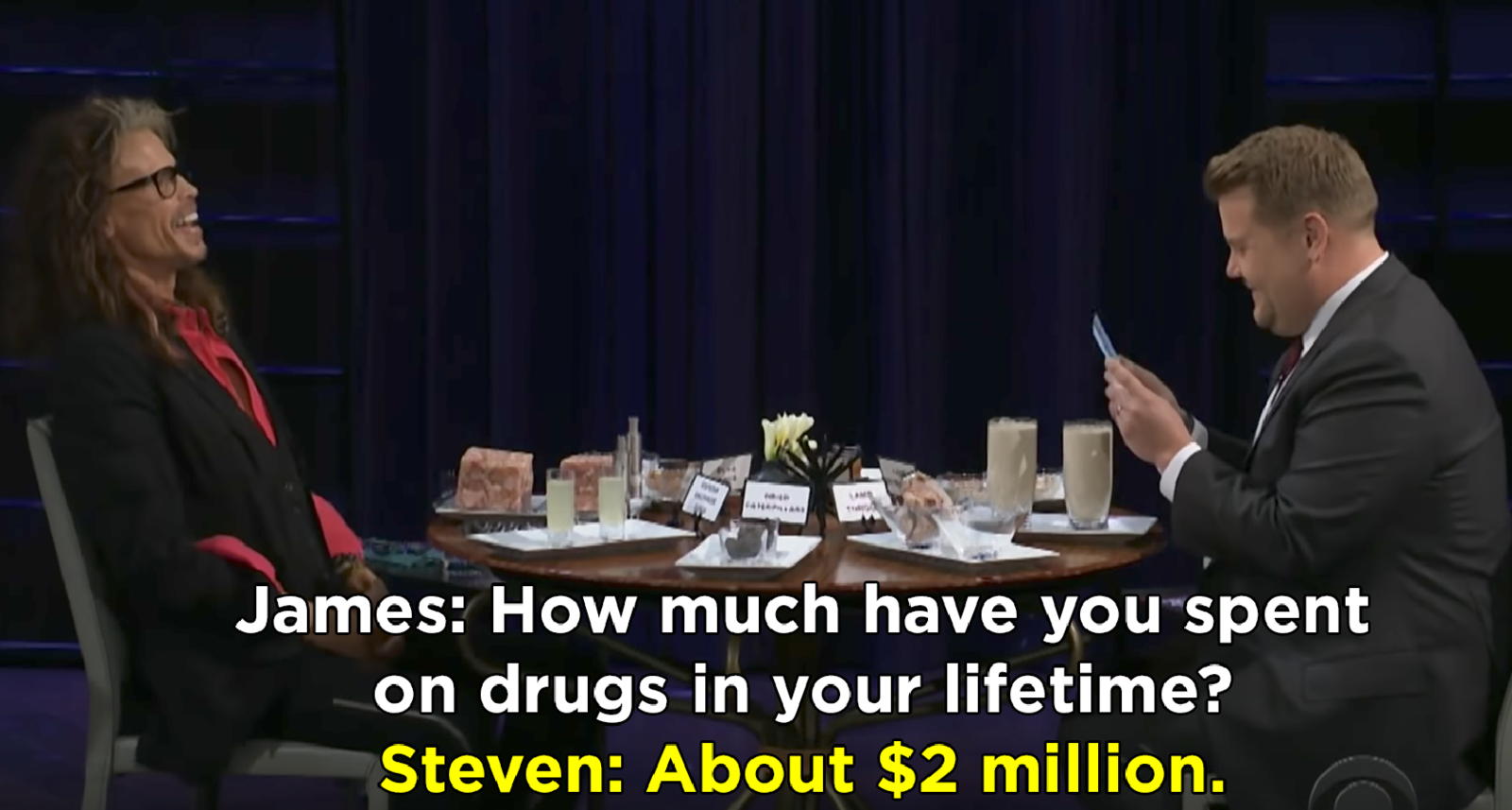 Steven Tyler saying he's spent $2 million on drugs