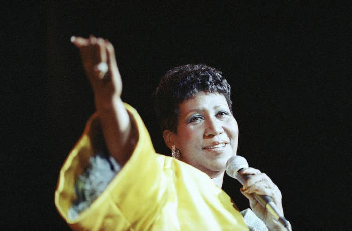 Franklin performs at New York's Radio City Music Hall in 1989.