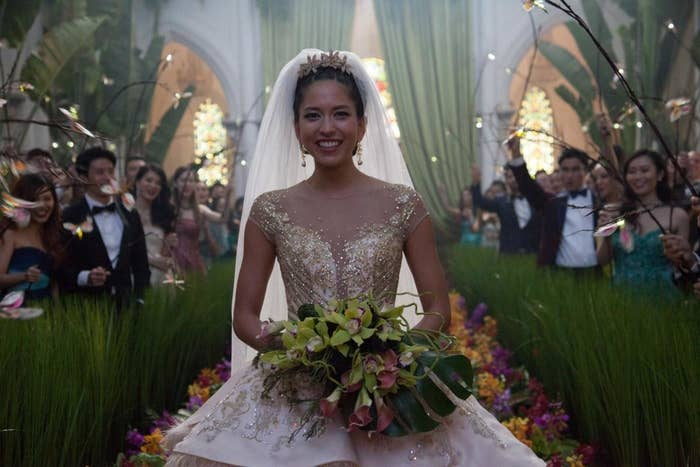 Mizuno as Araminta, the bride in Crazy Rich Asians' lavish wedding.