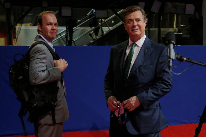 Paul Manafort (right) with his former deputy Rick Gates at the Republican National Convention on July 17, 2016.