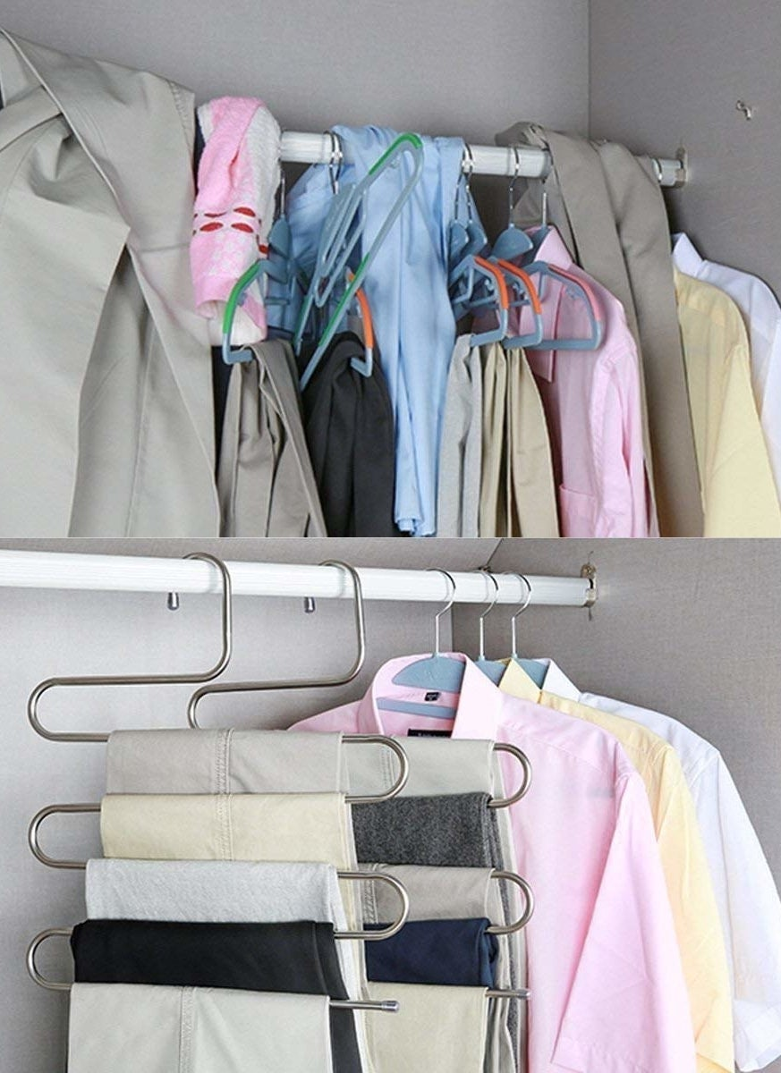 Before-and-after picture of disorganized closet and then clean-looking closet