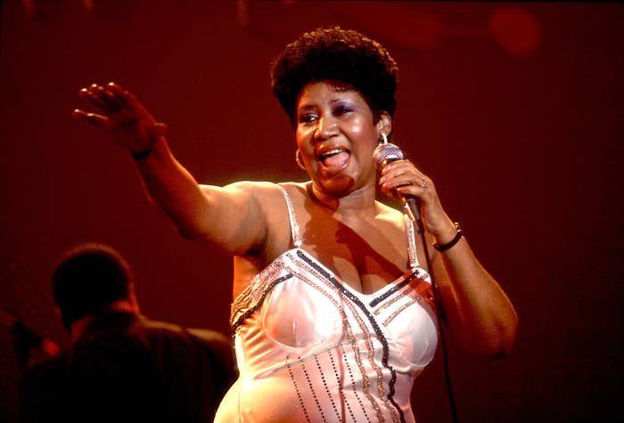 Aretha Franklin performs onstage at the Park West Auditorium, Chicago, 1992.