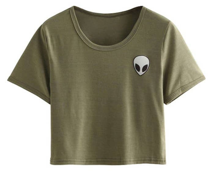 62163d54b A alien crop you can rely on as a truly out-of-this world top. It can be  worn with high-waisted skirts, jeans, leggings, and pretty much any other  bottom ...