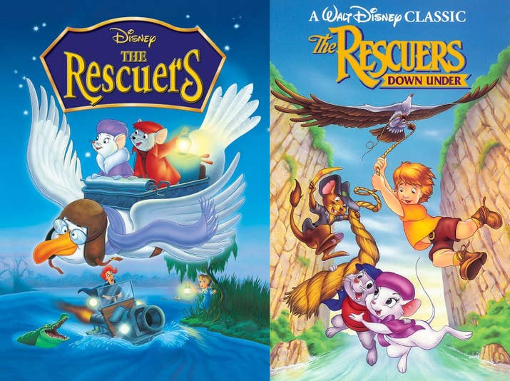 In the first one, The Rescue Aid Society saved a kidnaped little girl. In the second one, the R.A.S. saved a little boy and a rare eagle from a poacher. But don't worry, they're cute mice so it's for kids!