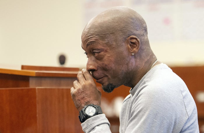 Dewayne Johnson reacts after hearing the verdict in his case against Monsanto at the Superior Court of California in San Francisco.