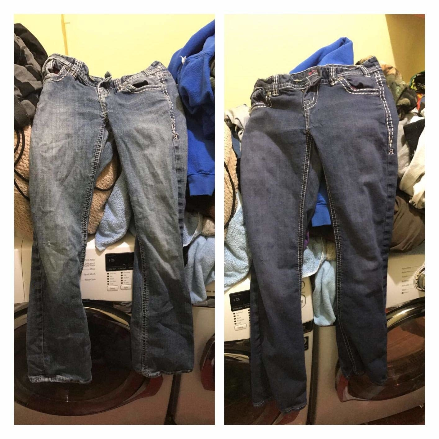 Reviewer before and after photo of jeans using Rit dye