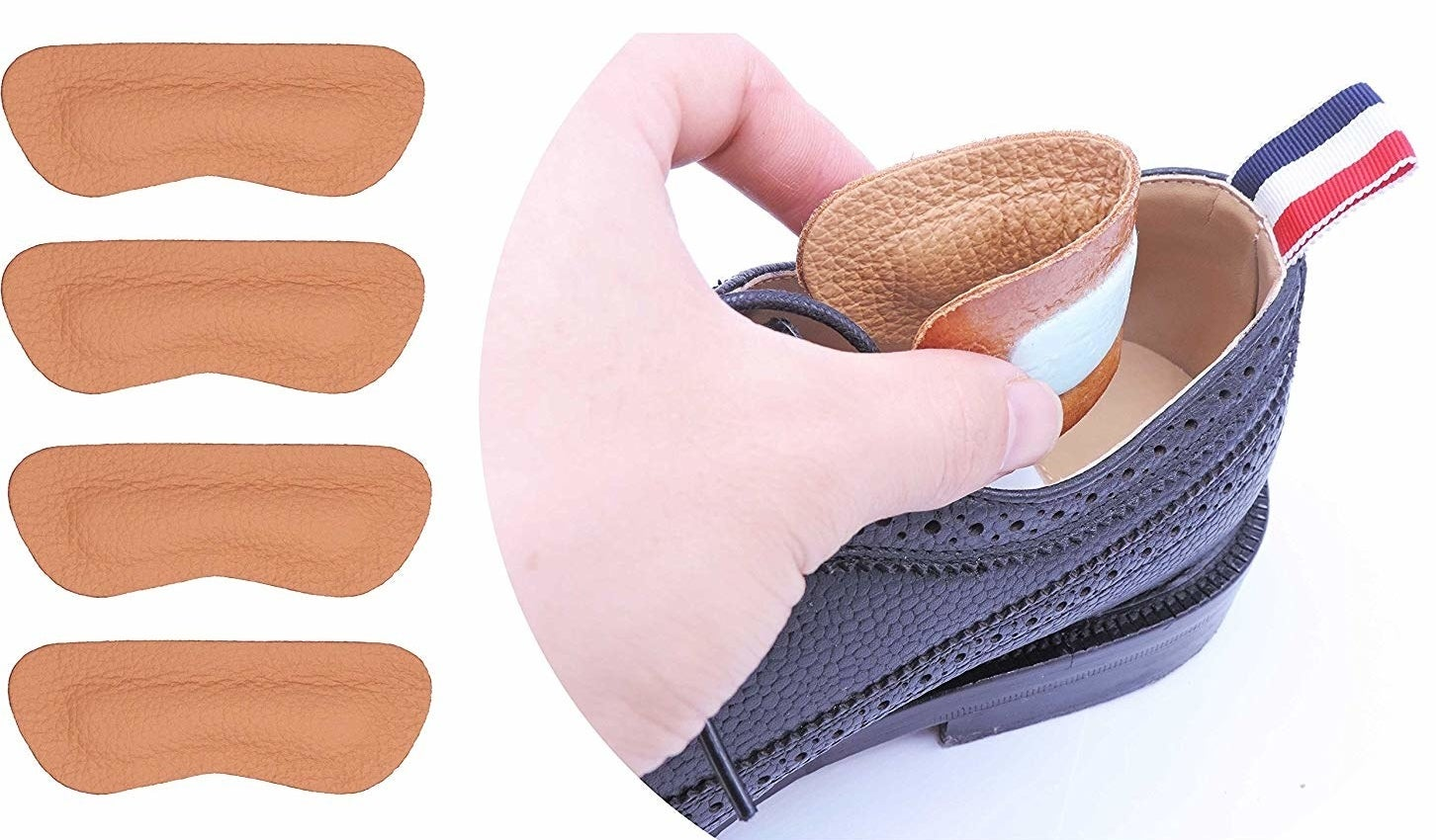 Photo of model placing leather cushion inserts in shoe next to four leather cushion inserts