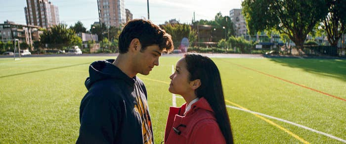 Peter (Noah Centineo) and Lara Jean (Lana Condor) share a look in To All the Boys I've Loved Before.
