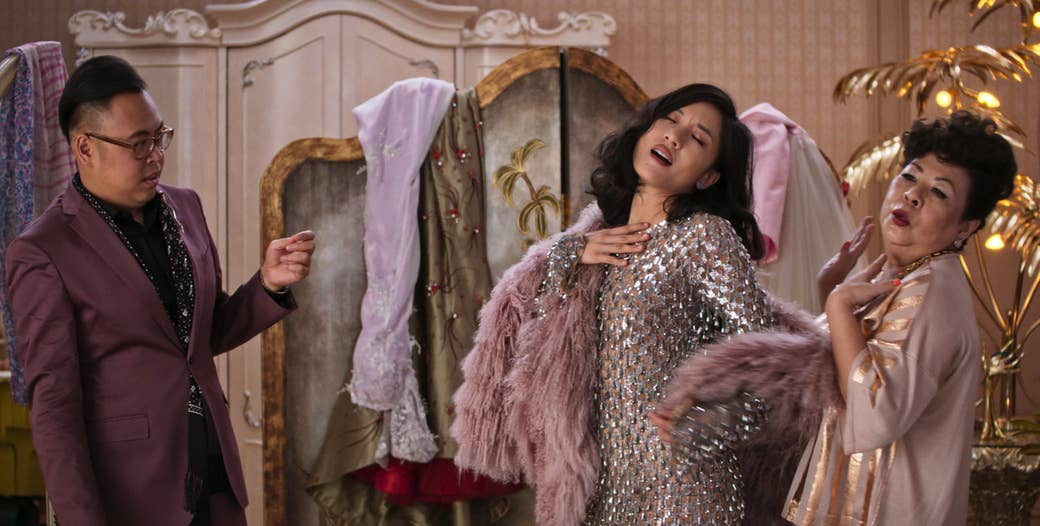 Nico Santos, Constance Wu and Koh Chieng Mun in Crazy Rich Asians.