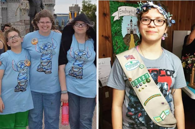 Rhonda Hart with her children, Tyler and Kimberly Vaughan, at Magic Kingdom in Florida (left); Kimberly wearing her Girl Scouts sash in 2017, (right).
