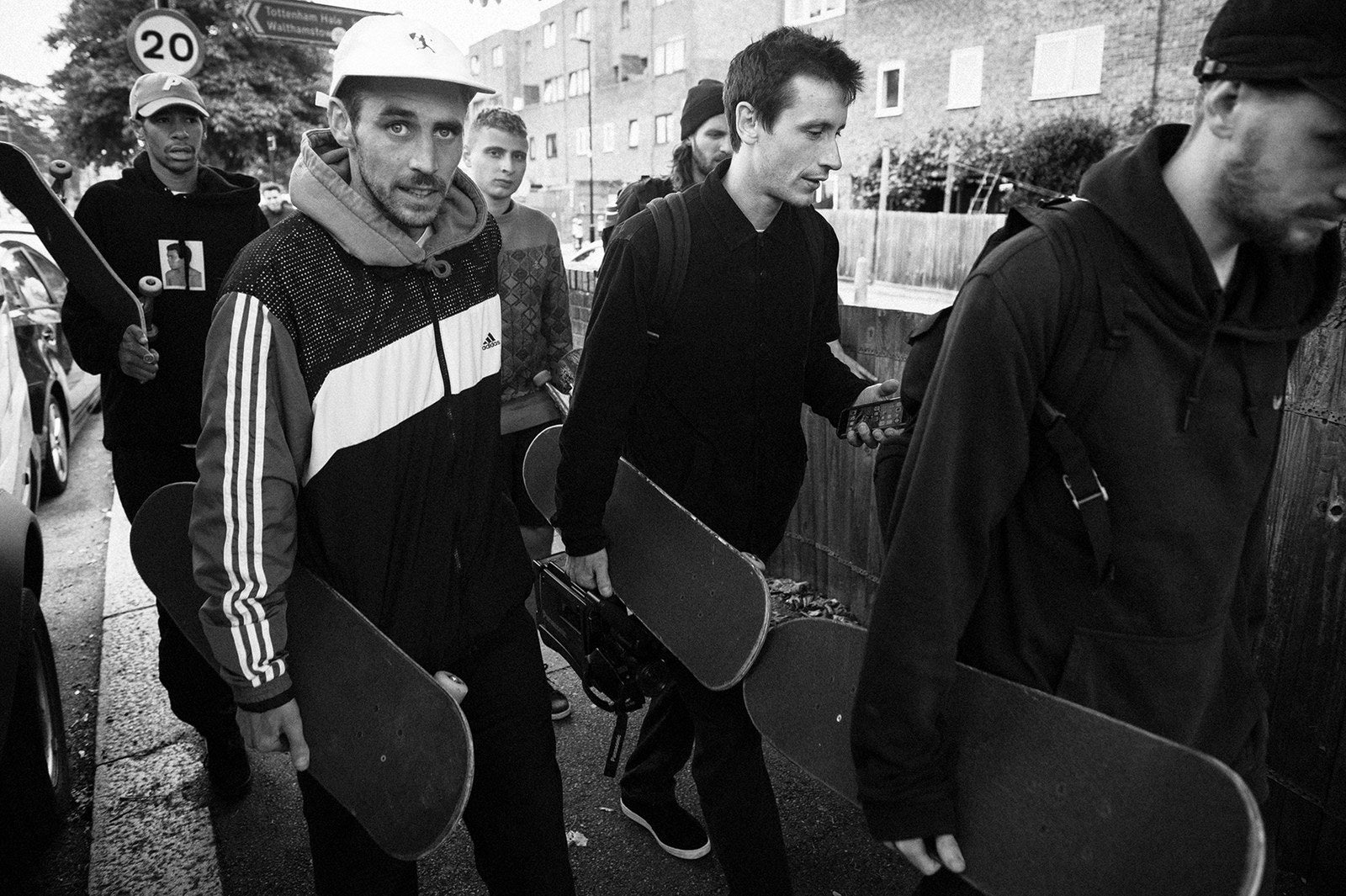 "Mike O'Meally; ""Palace Skate Team (Lucien Clarke, Chewy Cannon, Blondey McCoy, Jack Brooks, Danny Brady), Tottenham Hale""; 2016."