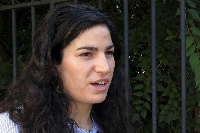 Marie Laguerre talking to journalists in Paris this week.