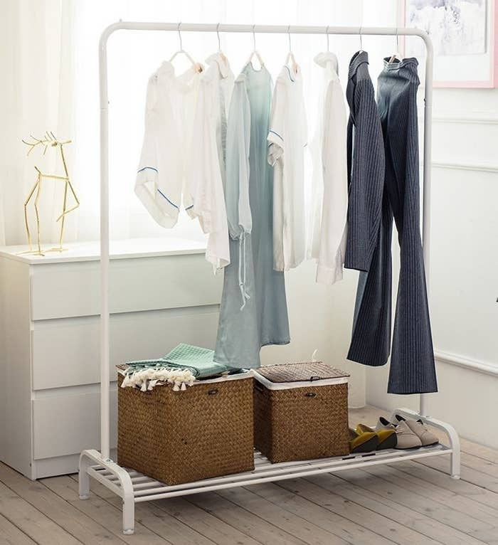 bd1498b4c95 Keep your clothes off The Chair and on a chic metal garment rack. Not only  will it easily neaten your room, but it'll also help you lay out your  weekly ...