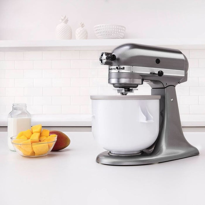 Just looking at this gorgeous helper makes me want to hop in the kitchen and whip up some homemade ice cream. Not only do KitchenAid mixers have the coolest attachments I've ever seen (like this ice cream maker attachment🍦), but in their most basic form, they are a work horse. The five-quart stand mixer has enough capacity to mix up to nine dozen cookies, four loaves of bread, or seven pounds of mashed potatoes in a single batch!