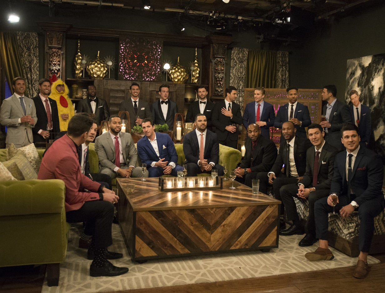 Becca Kufrin's suitors await her arrival during the first episode of The Bachelorette Season 14.