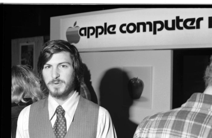 Steve Jobs, cofounder of Apple Computer Inc., at the first West Coast Computer Faire, where the Apple II computer was debuted in San Francisco, 1977.