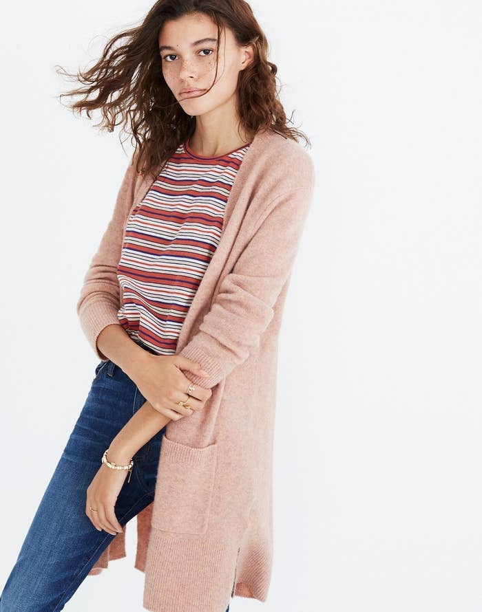 86f375c1a5 A cozy cardigan that s so soft and will probably make you blush from how  warm it keeps you during the day.