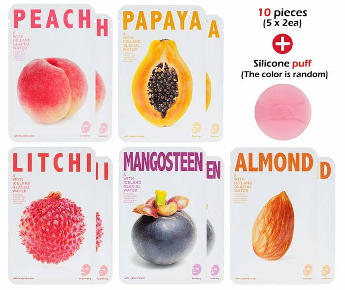 """Promising review: """"They feel so moisturizing! And the smells are not overwhelming. I have used a lot of sheet masks and these definitely have the quality of the much more expensive brands."""" —micaela c.Get a set of 10 from Amazon for $10.98."""