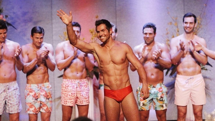 "Contestants during the swimsuit portion of the ""Mr. America"" pageant in Season 9."