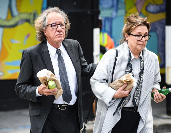 Australian actor Geoffrey Rush (left) arriving at the Federal Court in Sydney on July 4, 2018.