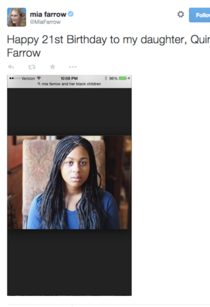 When Mia Farrow  forgot  to crop out this search bar