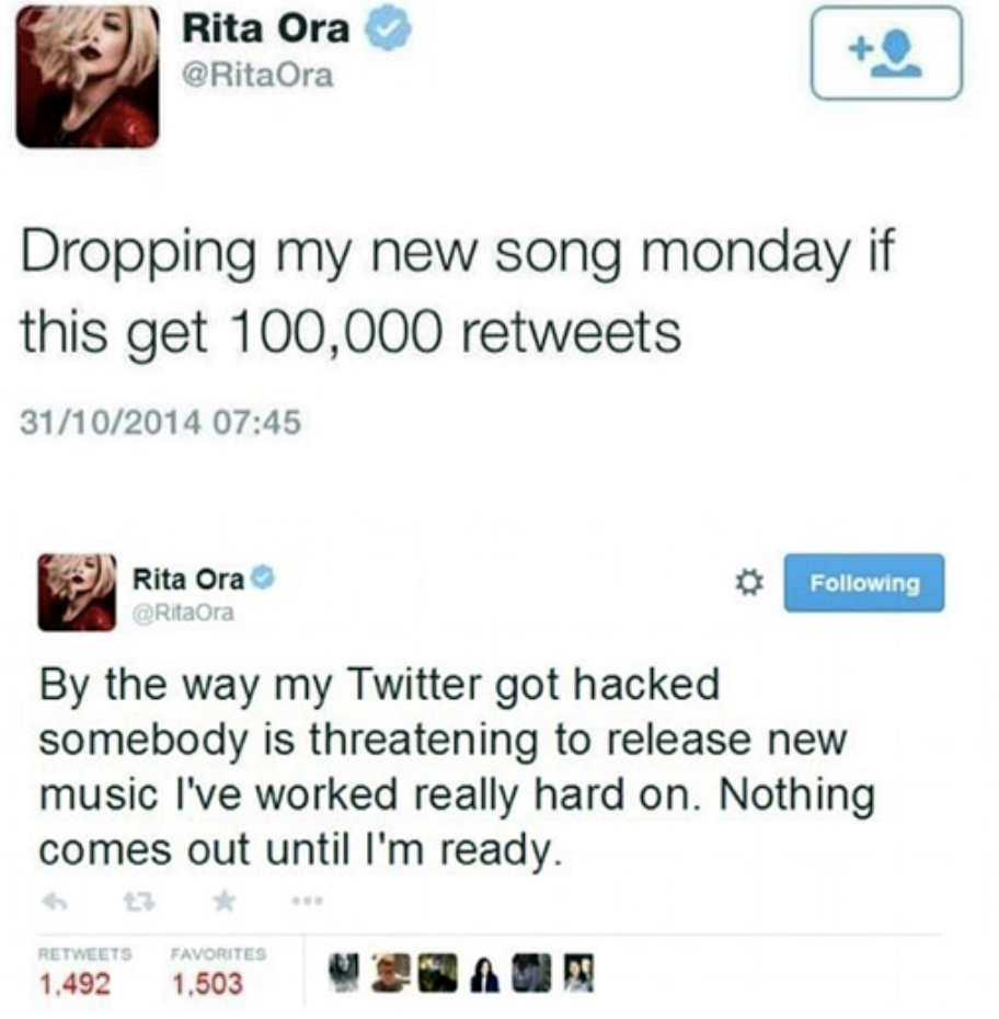 "When Rita Ora iconically said her Twitter got """"""""""hacked"""""""""