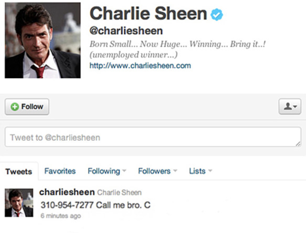 When Charlie Sheen accidentally tweeted his phone number