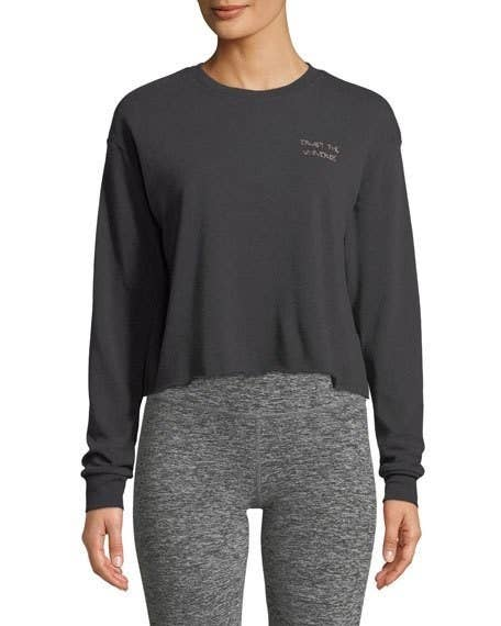 ecd2b4a96 A crewneck cropped sweatshirt that'll help you trust the universe and thank  it for bringing this super-soft piece into your life.