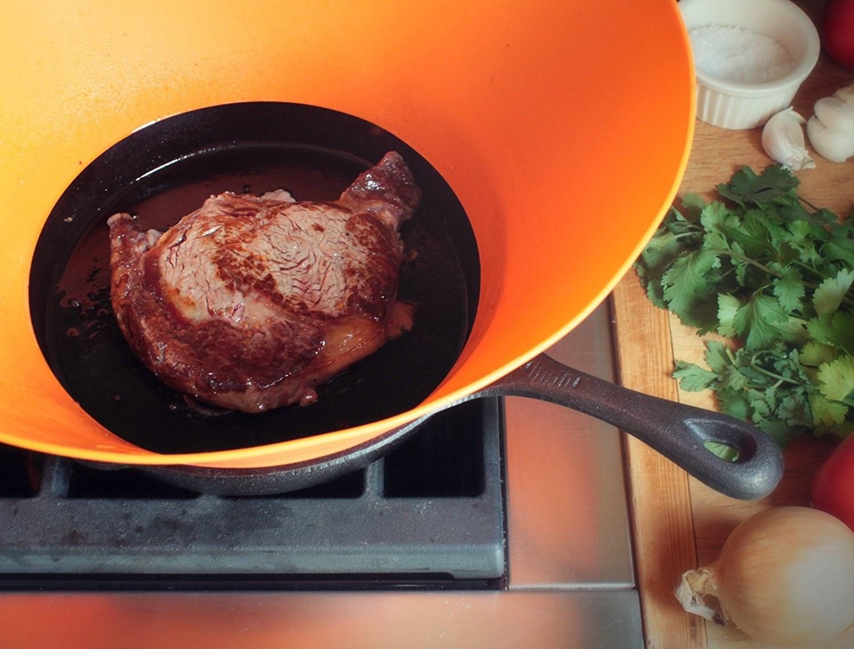 splatter guard on pan