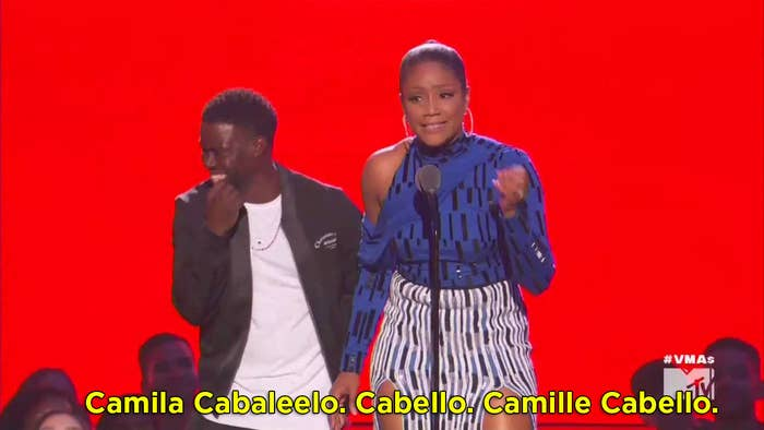Tiff: Camila Cabaleelo. Cabello. Camille Cabello is nominated for fi—YA'LL KNOW I CAN'T READ THAT GOOD, RIGHT? Look, she's nominated for five VMAs tonight...