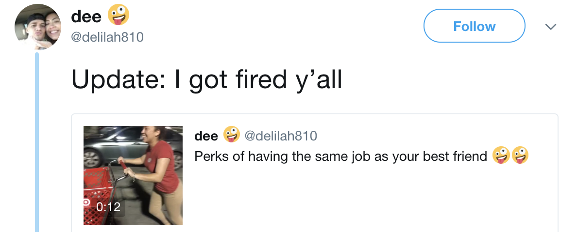 An employee on Twitter updating everyone she got fired for messing around with a shopping cart