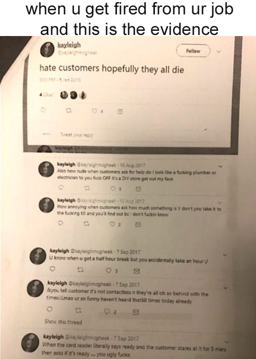 "A boss prints out worker's tweets, one saying, ""hate customers hope they all die"""