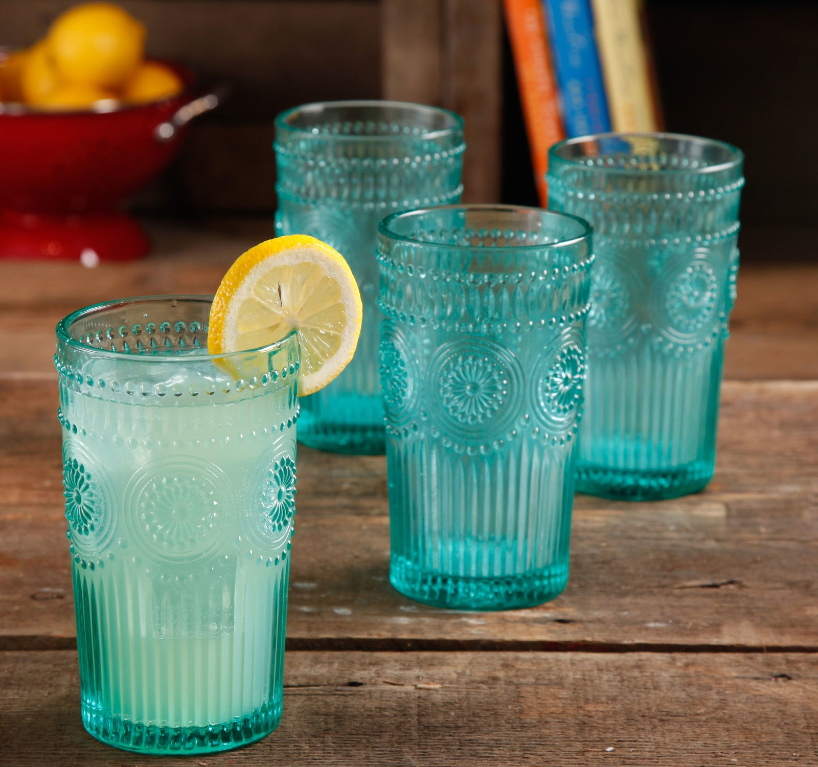 "Promising review: ""These are perfect! I ordered them in turquoise and was thrilled with them when I pulled them out of the box. The color is beyond beautiful and the glass is a perfect weight, not thin at all. They went through the dishwasher with no problem whatsoever. If you are on the fence, get these!"" —BamagirlGet a four-pack from Walmart for $11.88+ (available in three colors)."