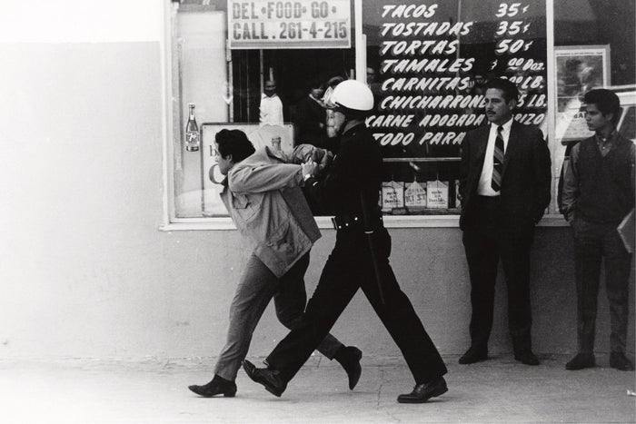 LAPD arresting a Chicano student protester, Boyle Heights, 1970.