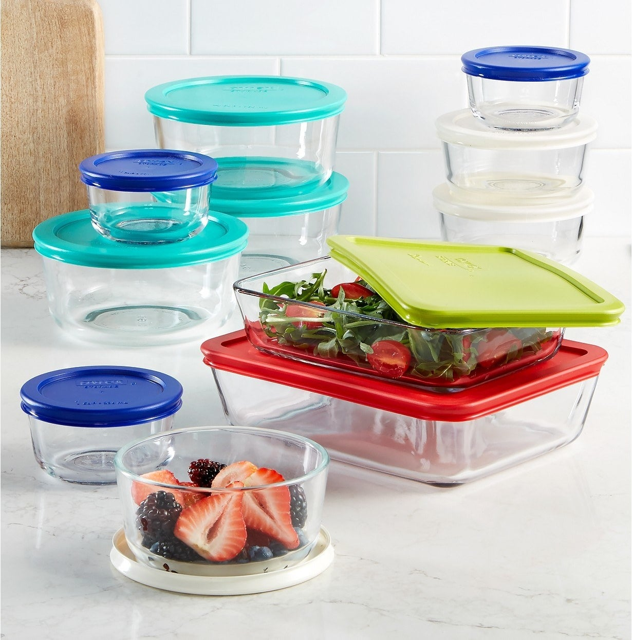 """This set includes three two-cup round containers with lids, three four-cup round bowls with lids, one three-cup rectangle container with lid, one six-cup rectangle container with lid, and three one-cup small round containers with lids. So, it has everything, all made with Pyrex quality.Promising review: """"I've used, and loved, Pyrex for my entire lifetime, so I bought this set for my soon-to-be-married niece. Great variety, highly useable, and I'll likely buy another set. This was a SMOKIN' DEAL!!!!!"""" —SuzyQPrice: $39.99"""
