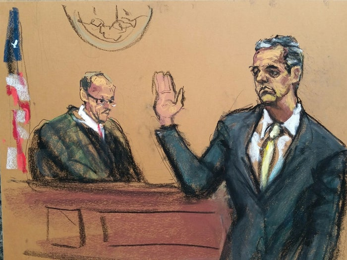 A sketch of Michael Cohen in court Tuesday, August 21, 2018.