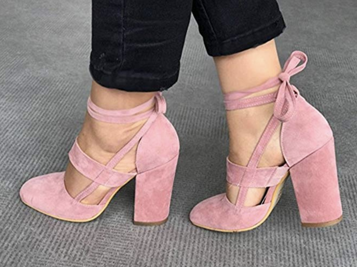 Chic High Heels Sandals Chunky Heels Older Comfortable Womens Classics Womens Shoes,Pink,4