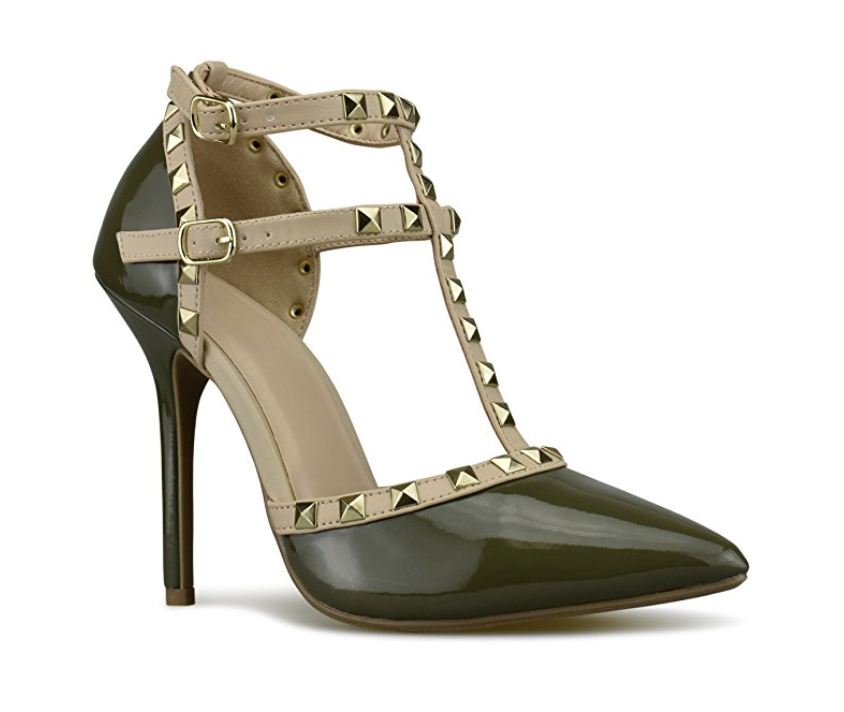 3da4f2ef1fb A pair of leather pumps with studs on the straps to lend your look a little  bit of an edge.