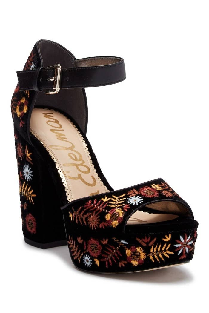 08a2f62ea A pair of embroidered velvet platform sandals that ll add a statement to  any outfit you wear this fall.