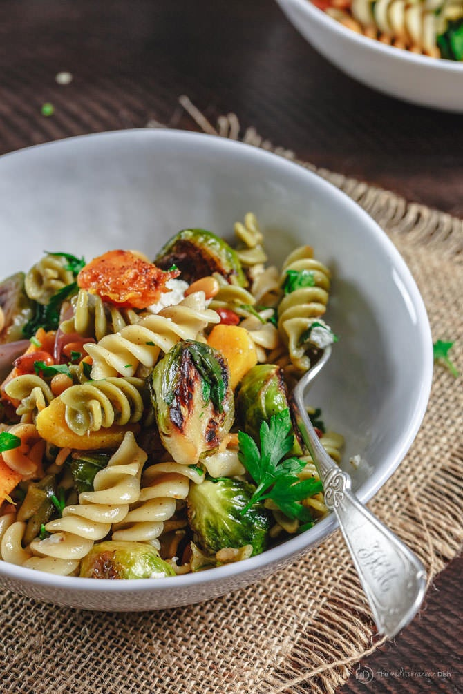 Just because picnic season is coming to a close doesn't mean you have to stop eating pasta salad. Try this version that's packed with fall's best produce like roasted Brussels sprouts and sweet potatoes. Get the recipe.