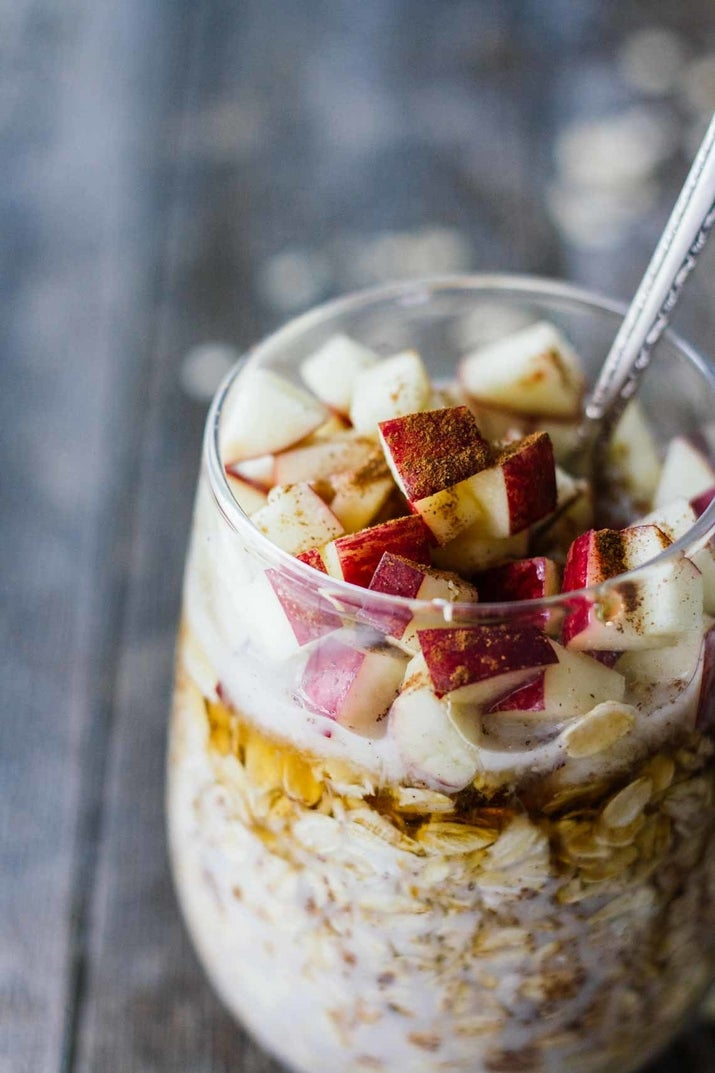 This on-the-go breakfast couldn't be easier. Just throw all the ingredients into a mason jar and mix them together at night. The next morning, breakfast will be ready to eat. Get the recipe.