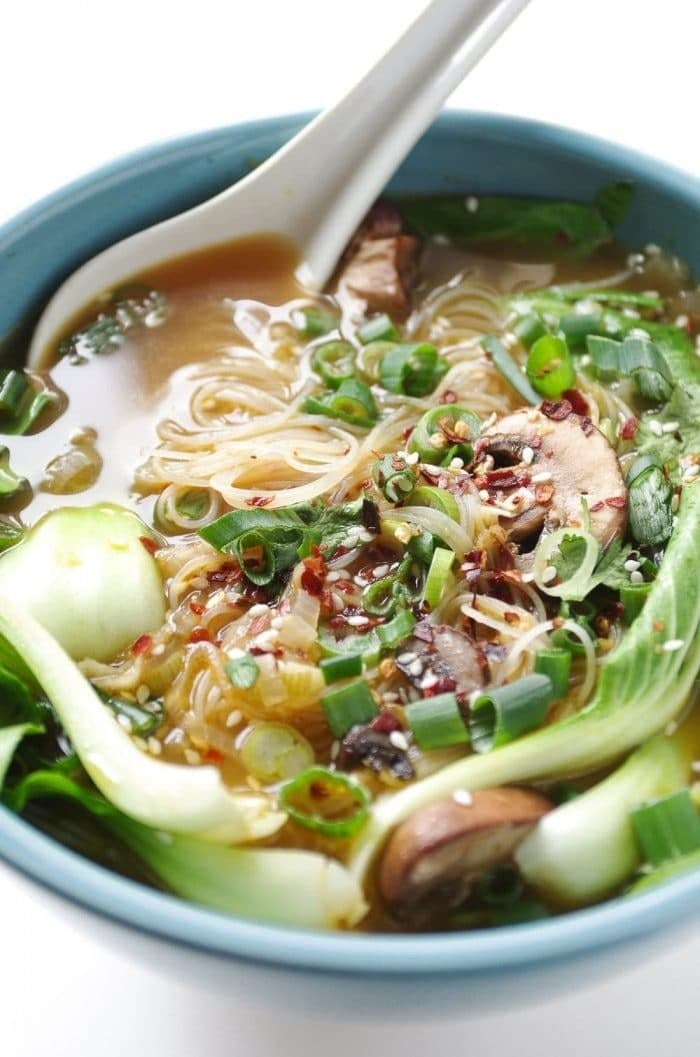 This soup is loaded with noodles and veggies, but you can always add your favorite protein to make it more filling. Get the recipe.