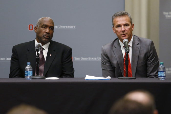 Ohio State football coach Urban Meyer (right) and athletic director Gene Smith.