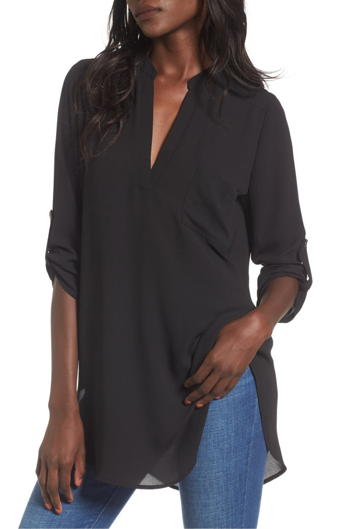 """Promising review: """"This top looks great over jeans, leggings, or skirts, and the length is just right. I bought this top in two colors and receive a ton of compliments whenever I wear it."""" —LuvonlineGet it from Nordstrom for $27.90 (originally $42, available in sizes XS-XXL and in nine colors)."""