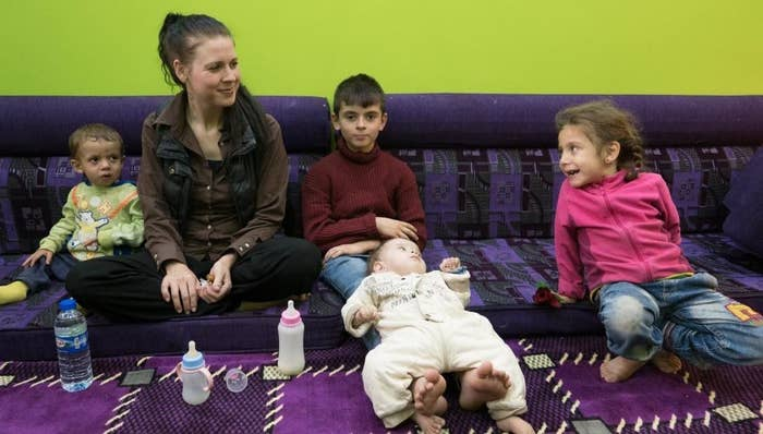 Samantha Elhassani and her children in a Syrian Democratic Forces prison in April 2018.