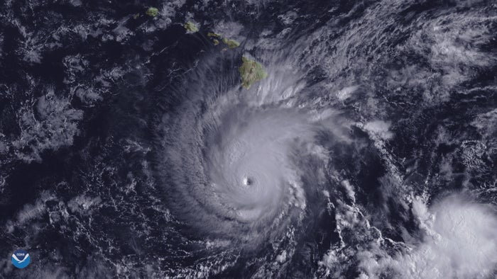 Hurricane Lane, with a well-positioned eye, is shown about 300 miles south of Hawaii's Big Island Wednesday.