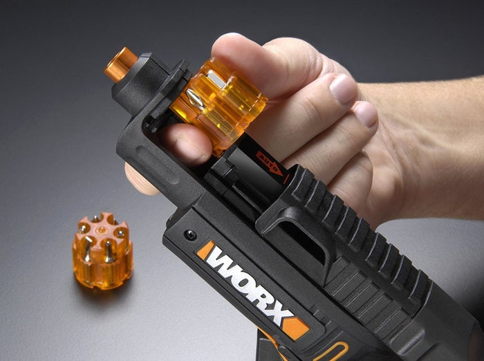 """Includes screw starter drill bit to make pilot holes, two rapid-reload cartridges that'll hold six bits each, and battery charger. It holds charge up to 18 months.Promising review: """"I love this drill. I do home inspections and use this to take off the electrical panel covers. It's so convenient because a lot of times there will be several types of screws securing the panel covers and I have to change bits to remove the screws. With this drill all of the bits I need are right there in the drill's bit chamber so I don't have to go searching for another bit I just have to turn the chamber to the one I need. Awesome product!!!"""" —bryan bennettPrice: $33.98Into colorful tools? Check out a similar pink screwdriver with six bits."""