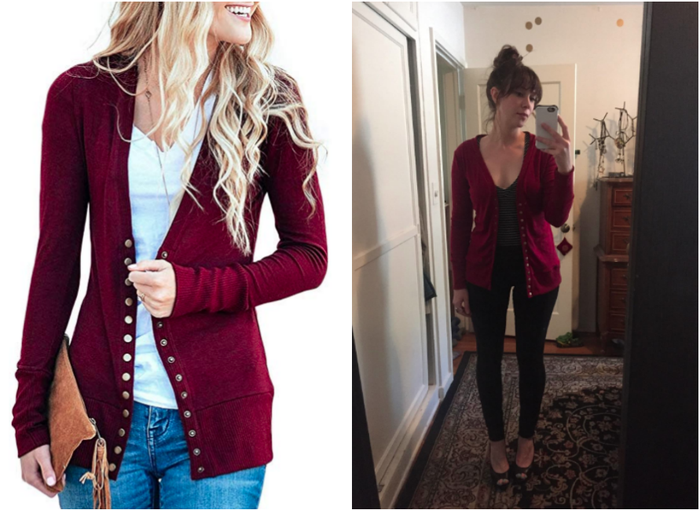 "Promising review: ""This is my go-to cardy now! I loved it as a layer when I went to San Francisco, and I have kept wearing it ever since. It's not too long and not too short — on me it doesn't cover my butt all the way, so I wouldn't wear it just with leggings, but it's just short enough that it looks good with jeans. The sleeves are very soft and stretchy so can easily pushed up to my elbows, which I do a lot. I love the snaps, but there are a ton of them, lol, but I usually wear it open anyways."" —JuliaGet it from Amazon for $22.99+ (available in sizes XS-XL, two styles, and ten colors)."